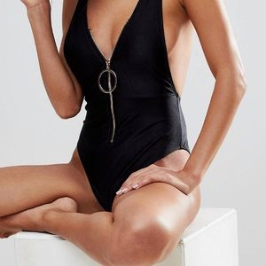 River Island Ribbed Zip Plunge Swimsuit Black 10